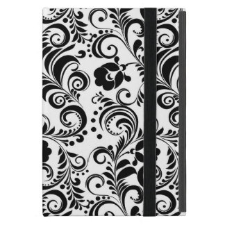 Cute black white floral design iPad mini cover