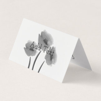 Cute Black White Floral Flowers Card