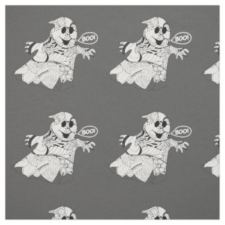 Cute black white floral ghost with boo Halloween Fabric