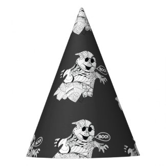 Cute black white floral ghost with boo Halloween Party Hat