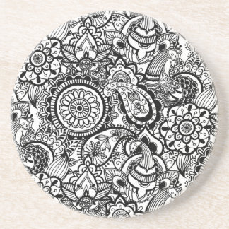 Cute black white floral paisley coaster