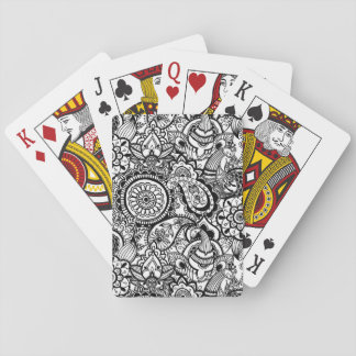 Cute black white floral paisley playing cards