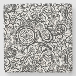 Cute black white floral paisley stone coaster