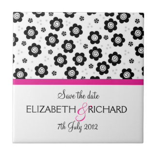 "Cute black white flowers ""Save the date"" Tile"