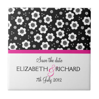 Cute black white flowers Save the date Tile