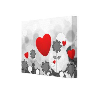 Cute Black/White/Grey Flowers w/Big Red Heart Canvas Prints