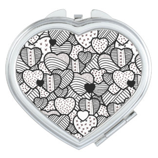 Cute black white hearts patterns compact mirror