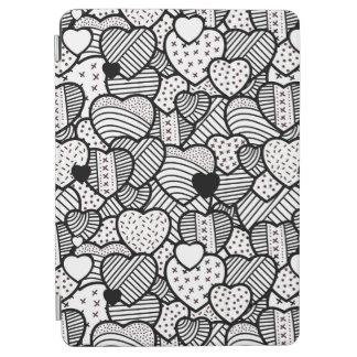 Cute black white hearts patterns iPad air cover