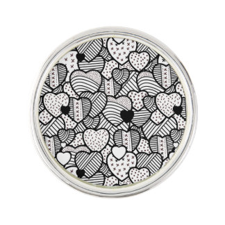 Cute black white hearts patterns lapel pin