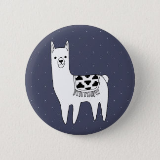Cute Black & White Llama & White Dots 6 Cm Round Badge