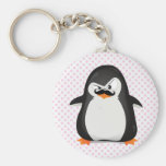 Cute Black  White Penguin And  Funny Moustache Keychain