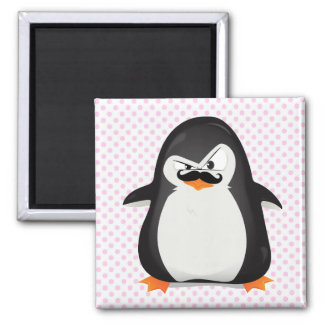 Cute Black  White Penguin And  Funny Moustache Square Magnet