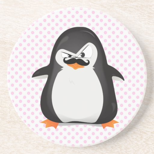 Cute Black  White Penguin And  Funny Mustache Beverage Coaster