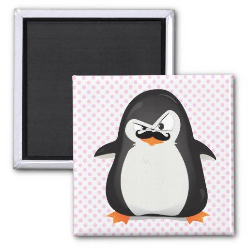 Cute Black  White Penguin And  Funny Mustache Fridge Magnets