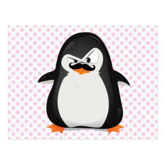 Cute Black  White Penguin And  Funny Mustache Postcard