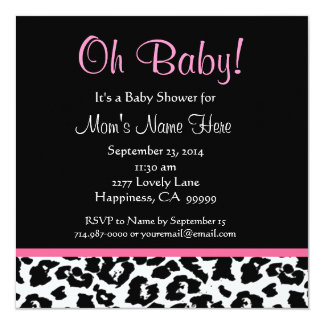 Cute Black White Pink Leopard Print Baby Shower 13 Cm X 13 Cm Square Invitation Card