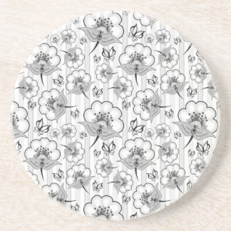 Cute black white seamless flowers patterns coaster