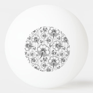 Cute black white seamless flowers patterns ping pong ball