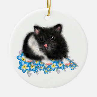 Cute Black white Syrian Hamster gifts Round Ceramic Decoration