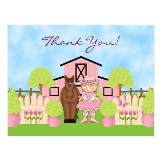 Cute Blond Cowgirl and Brown Horse Thank You Postcard