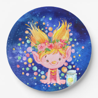 Cute Blond Point Eared Troll and Firefies Paper Plate