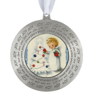 Cute Blonde Angel Decorating Christmas Tree red Round Ornament