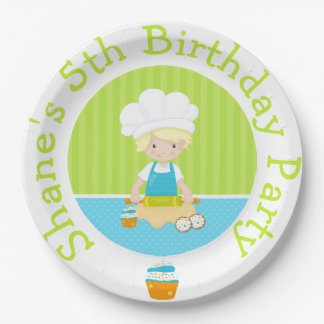 Cute Blonde Boy Baking Birthday Party Paper Plate