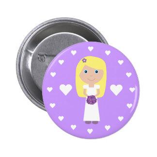 Cute Blonde Bride & Hearts Customizable 6 Cm Round Badge