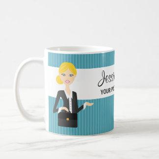 Cute Blonde Business Woman Illustration Coffee Mugs