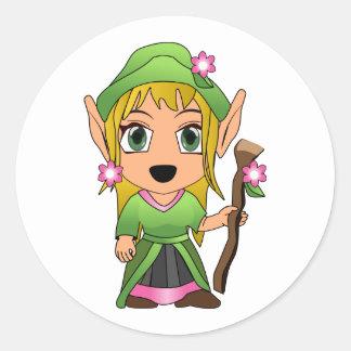 Cute Blonde Elf Girl in Green Round Sticker