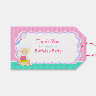 Cute Blonde Girl Baking Birthday Gift Tag