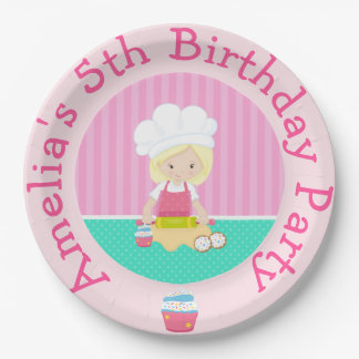 Cute Blonde Girl Baking Birthday Party Paper Plate