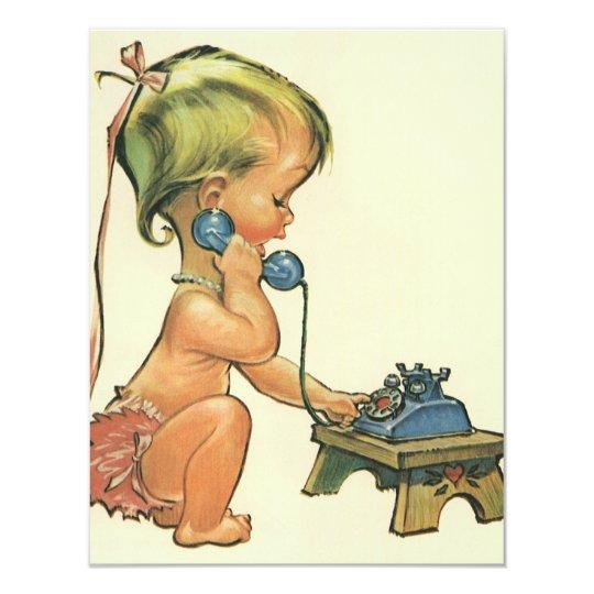 Cute Blonde Girl Talking on Toy Phone Invitation