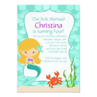 Cute Blonde Mermaid Birthday Invitation