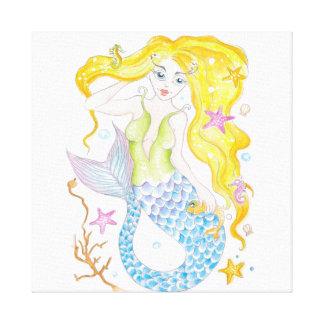 Cute Blonde Mermaid Canvas Print