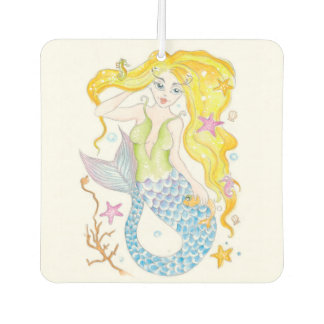 Cute Blonde Mermaid Car Air Freshener