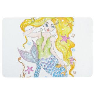 Cute Blonde Mermaid Floor Mat