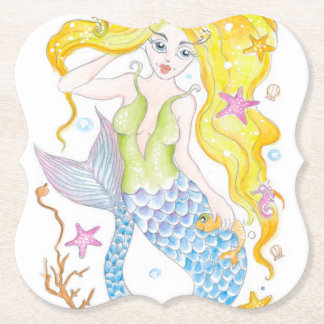 Cute Blonde Mermaid Paper Coaster