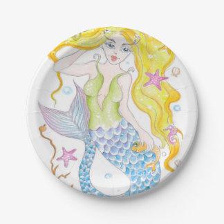 Cute Blonde Mermaid Paper Plate