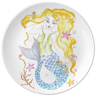 Cute Blonde Mermaid Plate