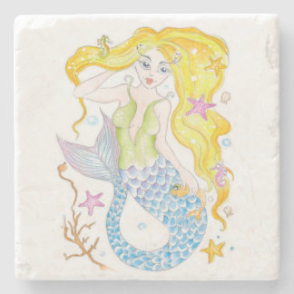 Cute Blonde Mermaid Stone Coaster