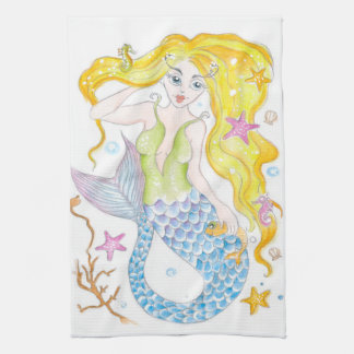 Cute Blonde Mermaid Tea Towel