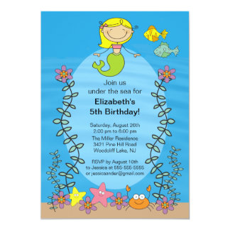 "Cute Blone Mermaid Birthday Invitation 5"" X 7"" Invitation Card"