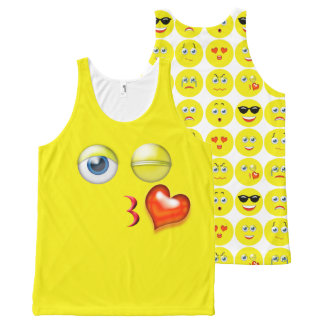 Cute Blow A Kiss Emoji Pattern All-Over Print Singlet