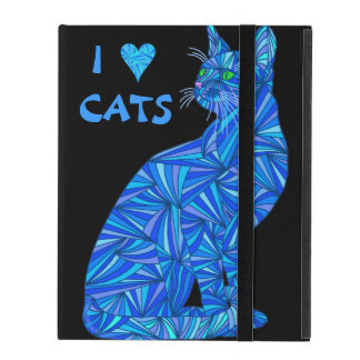 Cute Blue Abstract I Love Cats Whimsical iPad Case