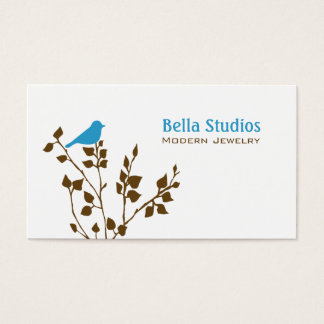 Cute Blue and Brown Bird Business Card
