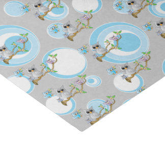 Cute Blue and Gray Baby Owls   Shower Theme Tissue Paper