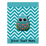 Cute Blue and Green Owl on Blue and White Chevron