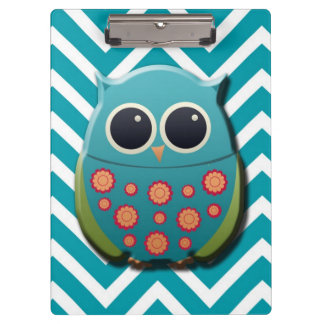 Cute Blue and Green Owl on Blue Chevron Clipboard