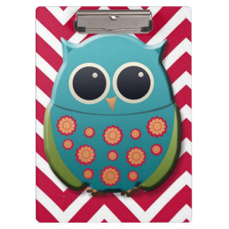 Cute Blue and Green Owl on Red Chevron Clipboard